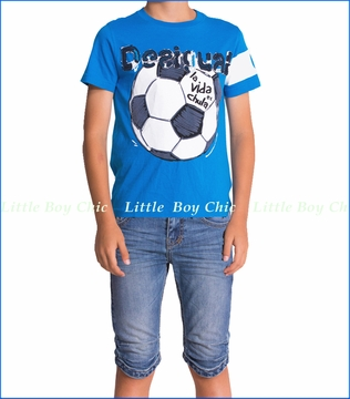 Desigual, Juergencao Soccer Tee with Denim Shorts