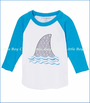 Feather 4 Arrow, Shark Fin Raglan Tee in Neon Blue