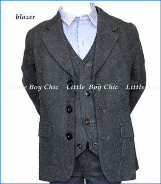 Fore!! , Charcoal Brush Flannel Blazer in Grey