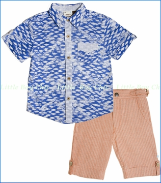 Fore!!, Clouds Shirt with Brick Linen Stripe Short