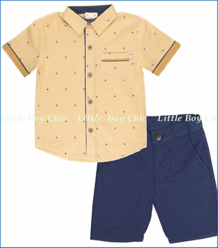 Fore!!, Double Face Trek Shirt with Navy Linen Shorts