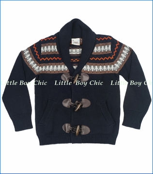 Fore!!, Fair Isle Toggle Cardigan in Navy