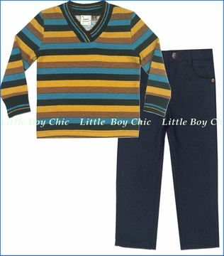 Fore!!, Fall Stripes Sweater with Navy Twill Pants