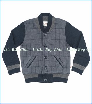Fore!!, Flanned Varsity Jacket in Grey Plaid