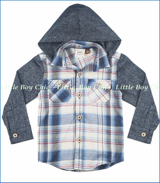 Fore!!, Flannel Plaid Shirt with Removable Hood