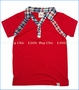 Fore!!, Johnny Collar Tee with Plaid Trim in True Red (c)