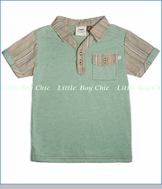 Fore!!, Johnny Collar Tiki Stripe Polo in Palm Green (c)