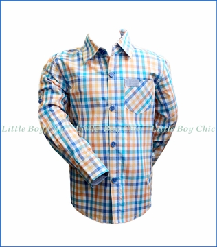 Fore!! , L/S Check Rolled-Cuff Shirt in Orange
