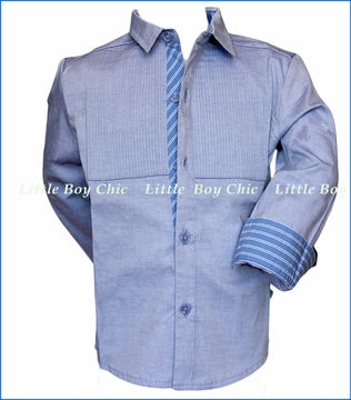 Fore!! , LS Tuxedo Shirt in Blue in Blue