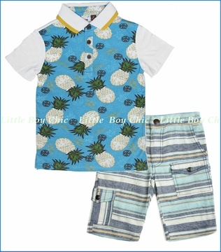 Fore!!, Pineapple Polo with Multi Stripe Linen Short