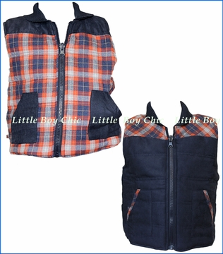 Fore!! , Plaid Reversible Crimson Vest in Multicolored