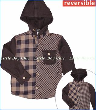 Fore!!, Reversible Plaid/Thermal Hooded Buttoned Shirt (c)