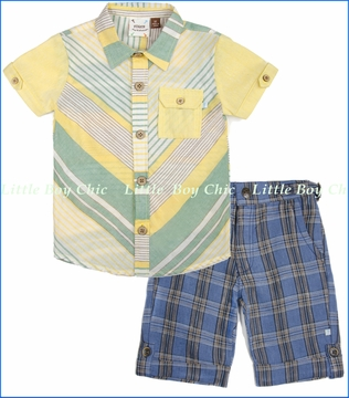 Fore!!, Stripe Playground Shirt with Blue Linen Plaid Short