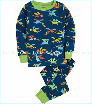 Hatley, Dragons Allover Pajama in Blue