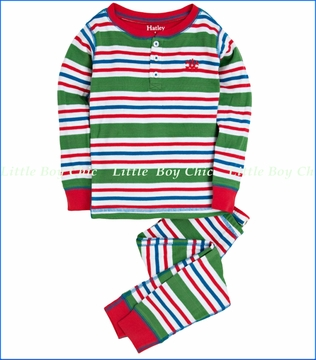 Hatley, Holiday Stripes Henley Pajama in Green
