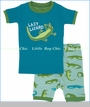 "Hatley, Later Gator ""Lazy Lizard"" Appliqued Pajama Set (c)"