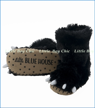 Hatley Little Blue House, Black Bear Paw Slippers in Black