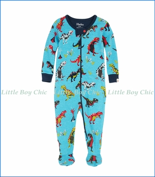 Hatley, Roaring T-Rex Footed Coverall in Blue