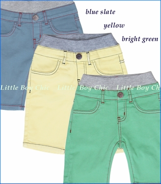 Hoonana, Peached Twill Shorts in Yellow, Blue Slate or Bright Green (c)
