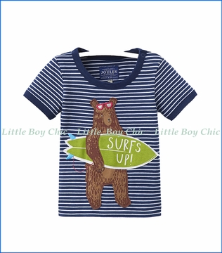 Joules, Bear Applique Tee in Blue