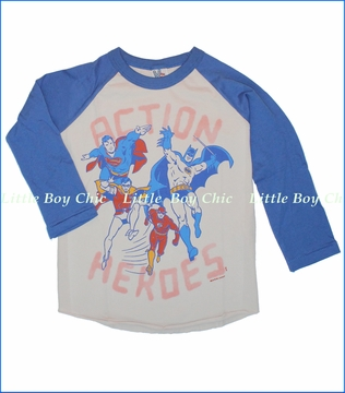 Junk Food, Action Heroes Tee in Foggy Grey