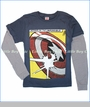 Junk Food, Captain American Shield 2fer Tee in New Navy