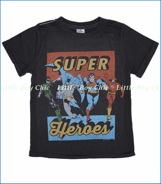 Junk Food, Super Heroes Tee in Black Wash (c)
