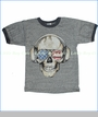 Junk Food, USA Skull Tee in Steel (c)
