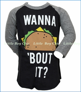Junk Food, Wanna Taco Bout It Raglan Tee in Black