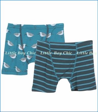 Kickee Pants, Boxer Briefs Set in Tundra Stripe & Bay Sandpiper