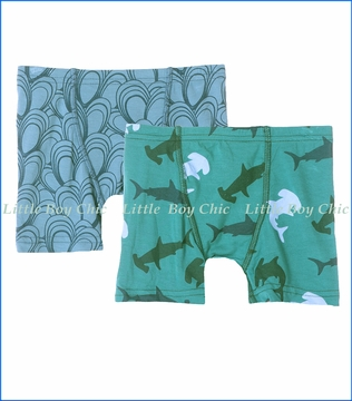 Kickee Pants, Boxer Briefs (Set of 2) in Blue Moon Mussels and Lagoon Hammerhead