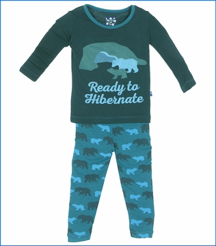 Kickee Pants, Cedar Brown Bear Print Long Sleeve Pajama Set