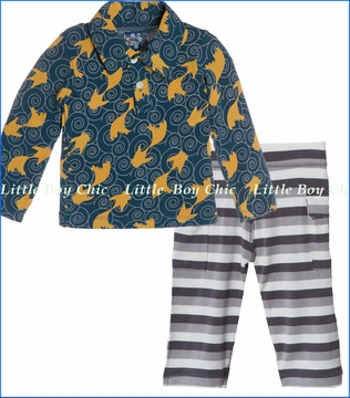 Kickee Pants, Fish Polo with Rain Stripe Cargo Pant