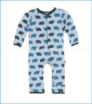 Kickee Pants, Fitted Coverall in Pond Musk Ox