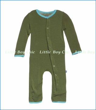 Kickee Pants, Holiday Fitted Coverall in Moss Polar Bear