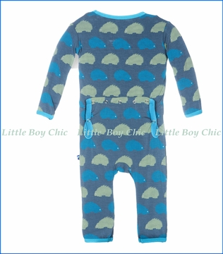 Kickee Pants, Print Fitted Coverall in Dusty Sky Porcupine