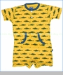 Kickee Pants, Shark Kangaroo Romper in Lemon (c)