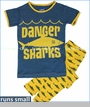 Kickee Pants, Shark Pajama Set in Lemon (c)