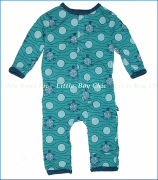 Kickee Pants, Turtle Coverall in Lagoon (c)