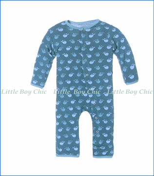 Kickee Pants, Twilight Tiny Whale Print Fitted Coverall in Blue