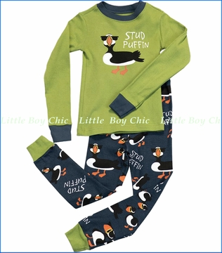 Lazy One, Stud Puffin Pajama in Green