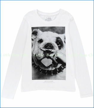 Little ElevenParis, Dog with Mustache Ringer Tee in White