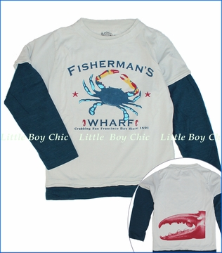 Little Traveler, Fisherman's Wharf 2fer Tee in Glacier Grey (c)