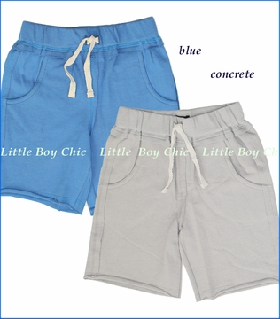 Little Traveler, French Terry Camp Shorts in Concrete or Cobalt Blue (c)
