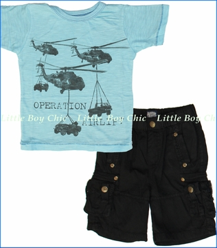 Little Traveler, Operation Airlift Tee with Black Cargo Shorts