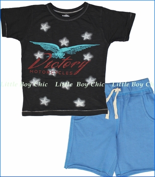 Little Traveler, Victory Motorcycles Tee with Cobalt Blue Camp Shorts