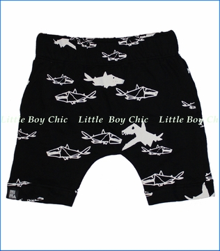Mini and Maximus, Sharks Drop Crotch Organic Shorts in Black