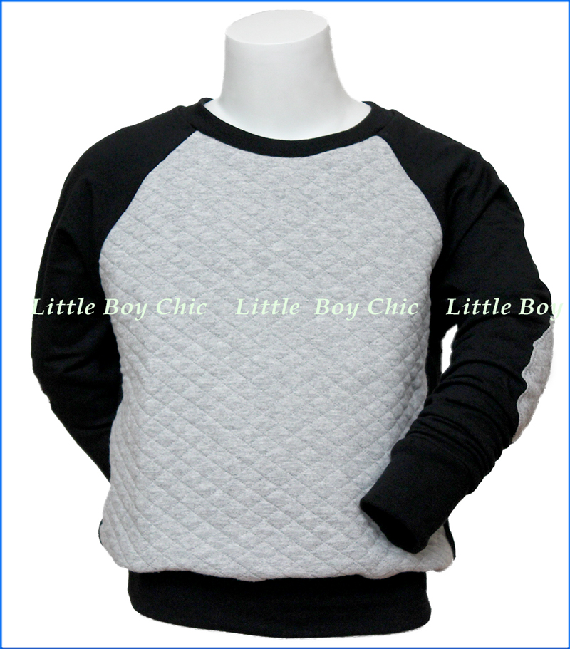Mini Classy, Quilted Crew w/ Elbow Patches in Grey