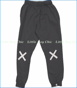 Mini & Maximus, No Falling Allowed French Terry Pants in Vintage Black (c)