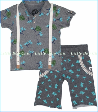 Mini Shatsu, Aloha Polo with Birds of Paradise Shorts